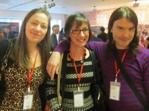 Alice, Jane and Rohan at the London Author Fair