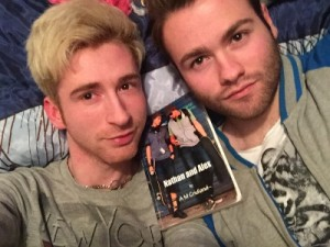 John and Tobias with their well thumbed copy reduced