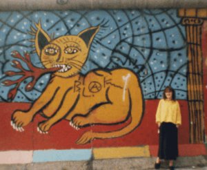 Margarita at the Berlin Wall in 1987