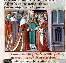The marriage of Henry VI and Margaret of Anjou is depicted in this miniature from an illustrated manuscript of Vigilles de Charles VII by Martial d'Auvergne